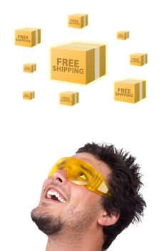 Free Young Head Looking At Shipping And Order Signs Stock Image - 21421161