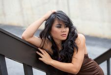 Pretty Young Asian Woman Outside Stock Images