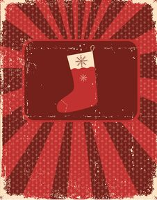 Free Vintage Christmas Card On Old Paper Texture Stock Images - 21422774