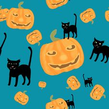 Free Halloween Background Black Cat And Pumpkins Royalty Free Stock Photography - 21423737