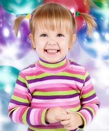 Free Girl With Balloons Stock Images - 21424504