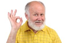 Free Senior Bald Man S Gestures Royalty Free Stock Image - 21426576