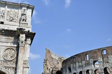 Free Colosseum And Constanine Royalty Free Stock Photos - 21426878