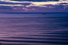 The Ship Encounters A Morning Raid. Stock Photo