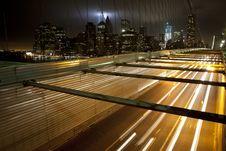 WTC Lights 2011 Brooklyn Bridge Stock Photography