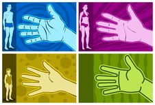 Figure In Four Different Types Of Hand Royalty Free Stock Photography
