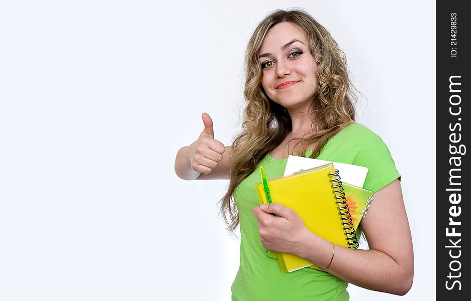Attractive girl with a notebook
