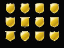 Free Golden Shields Royalty Free Stock Photo - 21432215