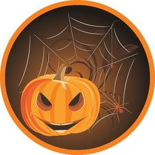 Free Halloween Pumpkin With Spiders. Sticker Stock Photos - 21432383