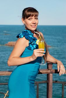 Beautiful Girl With A Drink Royalty Free Stock Photo
