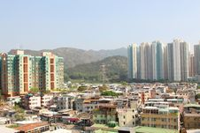 Hong Kong Downtown And Residential Buildings Royalty Free Stock Photos