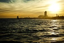Free Sundown Seascape With Barcelona On The Background Stock Photos - 21439143