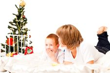 Free Mother With A Son Near A New-year Tree Royalty Free Stock Photos - 21439958