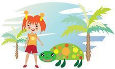 Free Little Girl With Turtle Royalty Free Stock Photography - 21441097