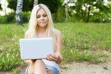 Closeup Of A Young Girl Using Laptop Stock Photos