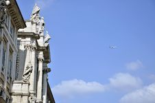 Plane On Rome Sky Royalty Free Stock Photography