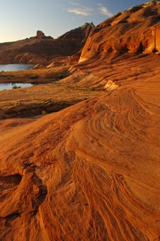 Free Red Sandstone Formations Lake Powell Stock Image - 21443861
