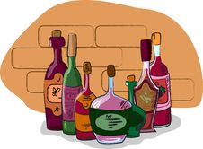 Vector Collection Of Wine Bottles Royalty Free Stock Photos