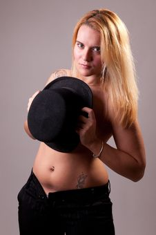 Beautiful Blonde Model In Topless Covering Breasts Royalty Free Stock Image