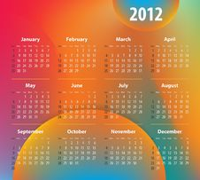Free Calendar For 2012 Year On Colorful Background Stock Images - 21446064