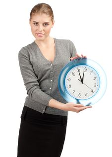 Free Business Woman With Big Clock Stock Photos - 21450313