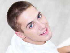 Smiling Young Handsome Man At Home Royalty Free Stock Photo