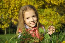 Free Girl In The Autumn Park Stock Photo - 21452580
