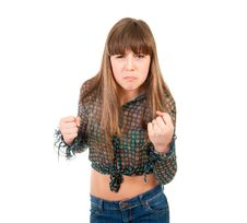Free Angry Teen Girl Threatened With Fists Stock Image - 21454911