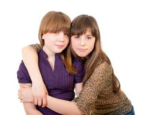 Free Full-length Portrait Of Two Girls Royalty Free Stock Image - 21454936