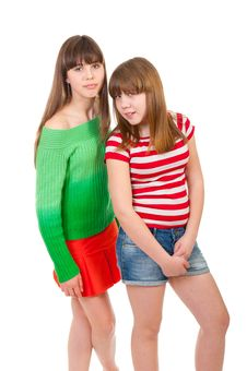 Full-length Portrait Of Two Girls Stock Photo