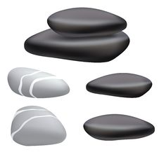 Free Dark And Gray Pebbles On A White Background. Royalty Free Stock Photography - 21454987
