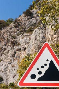Free Road Sign Falling Stones Stock Images - 21455604