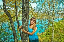 Free The Girl Next To A Birch Royalty Free Stock Images - 21456819