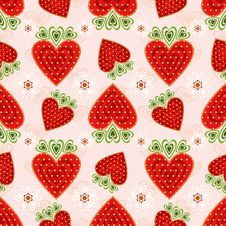 Pink Effortless Pattern With Strawberry Stock Photo