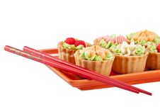 Free Tasty Cakes And Pair Of Chopsticks Isolated Royalty Free Stock Photography - 21459577