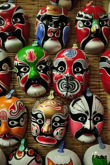 Free Chinese Opera Masks On A Wall Stock Photos - 21459653