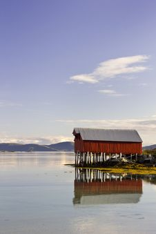 Free Red Boat House Reflected, Troms County, Norway Royalty Free Stock Images - 21459879