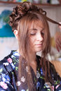 Free Hands Of The Hairdresser Doing Hair Stock Images - 21461324