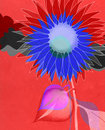 Free Blue Artistic Sunflower On Red Royalty Free Stock Photography - 21469257