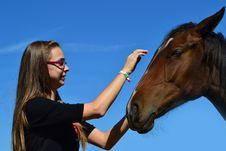 Free Girl Caressing Horse Royalty Free Stock Photos - 21460208
