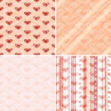 Free Set Seamless Valentine Pattern Stock Image - 21460681