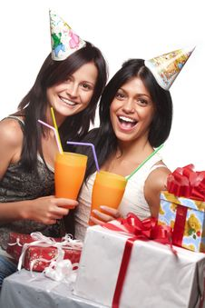 Beautiful Girls Celebrate Birthday Royalty Free Stock Photo