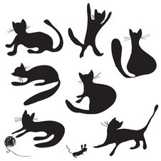 Free Cat Silhouettes Set Royalty Free Stock Image - 21463066