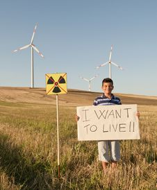 Free Child Against Nuclear Energy. Stock Photos - 21464103