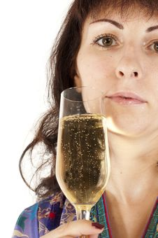 The Girl Drinks Champagne Royalty Free Stock Photo