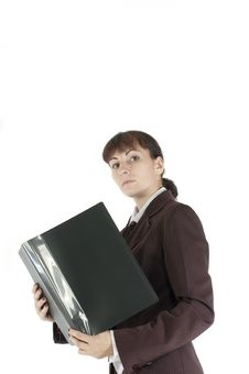 Free The Business Lady Costs With A Folder For Papers Royalty Free Stock Image - 21464246