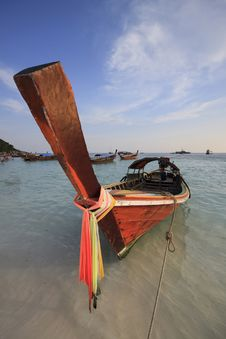 Free Traditional Thai Longtail Boat On The Beach Stock Photography - 21466372