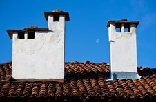 Free Roof With Chimneys Royalty Free Stock Photo - 21466595
