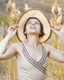 Free Portrait Of Beautiful Brunette Woman In Summer Royalty Free Stock Image - 21468166