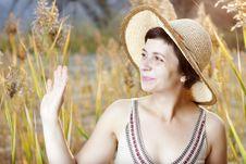 Free Portrait Of Beautiful Brunette Woman In Summer Stock Image - 21468171
